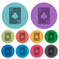 King of clubs card color darker flat icons