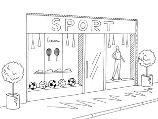Sport store shop exterior graphic black white sketch illustration vector