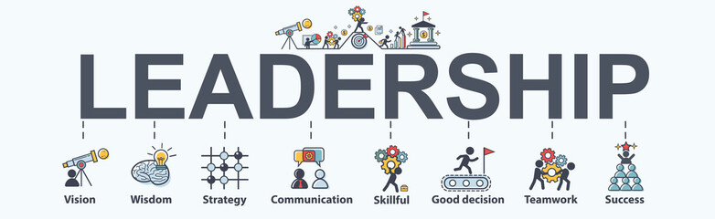 Leadership banner web icon for business, vision, wisdom, skillful, decision, teamwork and success. Minimal vector infographic. Wall mural