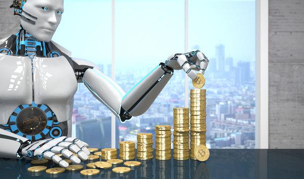 White Robot Golden Bitcoins Growth Chart