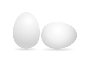Egg. White 3D egg chicken. Isolated on white background. Vector
