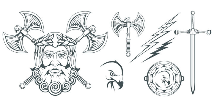 Zeus - the ancient Greek god of heaven, thunder and lightning. Greek mythology. Two-sided ax, labrys, and eagle. Olympian gods collection. Hand drawn Man Head. Bearded man. Vector graphics to design