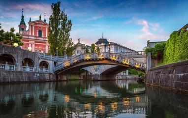 Tromostovje bridge and Ljubljanica river in the city center. Ljubljana, capital of Slovenia.