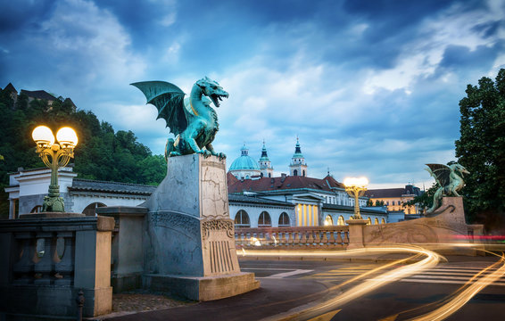 Dragon bridge (Zmajski most), symbol of Ljubljana, capital of Slovenia, Europe. Long exposure. Time lapse.