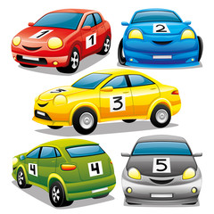 Set of cars on a white background.