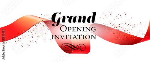 grand opening invitation banner design with red ribbon swirls and