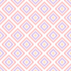 Pastel colored pink geometric aztec ethnic seamless pattern, vector