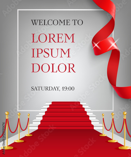 Welcome To Lettering With Red Carpet Entrance Party Invitation