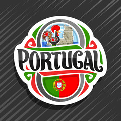 Vector logo for Portugal country, white fridge magnet with portuguese flag, original brush typeface for word portugal and portuguese symbols - folk rooster galo de barcelos and torre de belem tower.