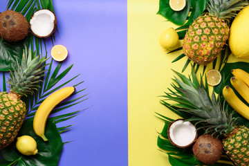 Exotic pineapples, coconuts, banana, melon, lemon, tropical palm and green monstera leaves on yellow, violet background with copyspace. Creative layout. Monochrome summer concept. Flat lay, top view.