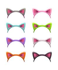 Funny cartoon headbands with cat ears.