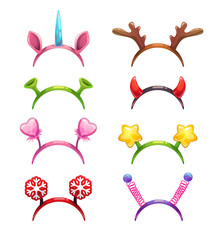 Funny cartoon headbands with horns and ears.