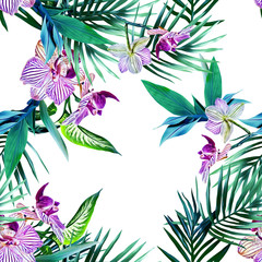 Watercolor orchid seamless pattern.