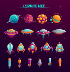 Cartoon space war concept.