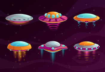 Cartoon colorful ufo assets set.
