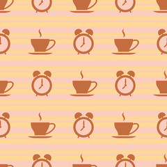 Seamless morning pattern with alarm clocks and cups