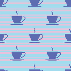 Seamless morning pattern with cups