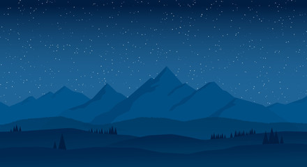 vector landscape mountains at night