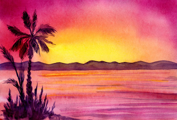 Watercolor painted panorama with palm trees.