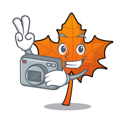 Photographer red maple leaf mascot cartoon