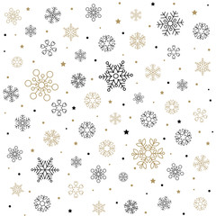 Christmas pattern with snowflakes, stars and dots isolated on light background. Fits perfectly for print or any christmas background.