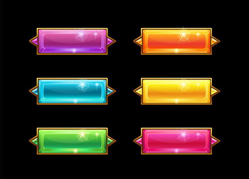 Set colorful long crystal horizontal buttons with golden border.