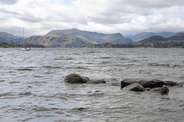 Scenic view of lake and mountain on Ullswater in Lake District of England, UK