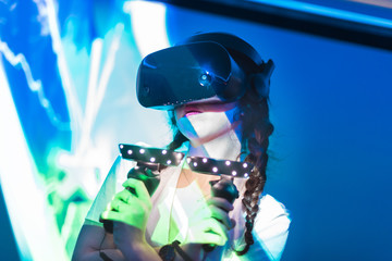 Young woman in VR headset