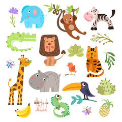 Cute set of safari animals and flowers. Savanna and safari funny cartoon animals. Jungle animals vector set. Crocodile, giraffe, lion and monkey, and other jungles and savannah animals in one cute