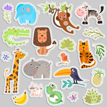Cute set of stickers of safari animals and flowers. Savanna and safari funny cartoon sticker animals. Jungle animals vector set of sticker elements. Crocodile, giraffe, lion and monkey, and other