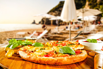 summer photo of pizza