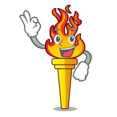 Okay torch character cartoon style