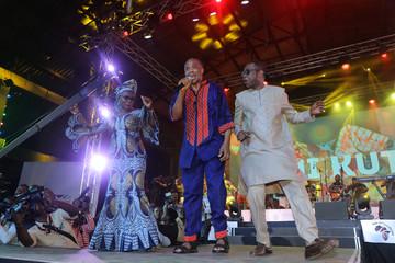 Beninese singer Angelique Kidjo, Nigerian musician Femi Kuti and Senegalese singer Youssou N'dour perform at the Afrika Shrine in Lagos