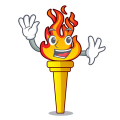 Waving torch character cartoon style