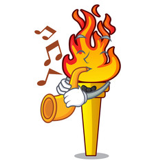 With trumpet torch mascot cartoon style