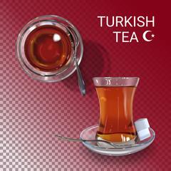 Vector realistic illustration of Turkish tea time.