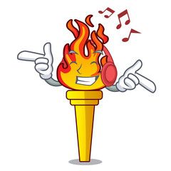 Listening music torch mascot cartoon style