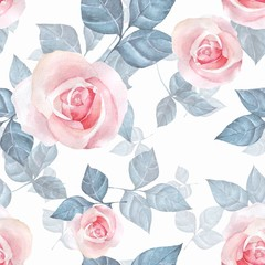 Delicate roses. Hand drawn watercolor floral seamless pattern 4