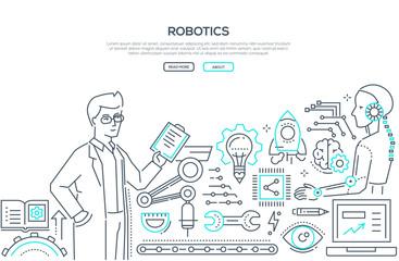 Robotics - line design style illustration