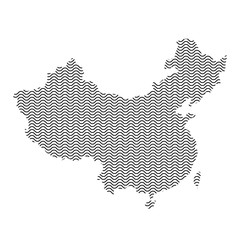 China map country abstract silhouette of wavy black repeating lines. Contour of sinusoid curve. Vector illustration.
