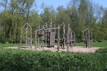 wooden playing tools on playground in park Hitland in Nieuwerkerk aan den IJssel.