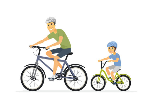 Father and son cycling - cartoon people characters illustration