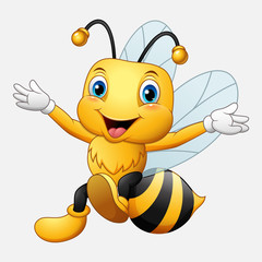 Cute bee cartoon waving hand