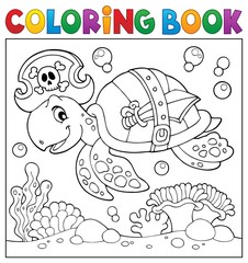 Coloring book pirate turtle theme 2