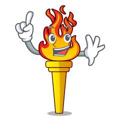 Finger torch mascot cartoon style