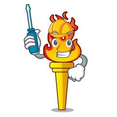 Automotive torch mascot cartoon style