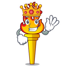 King torch mascot cartoon style