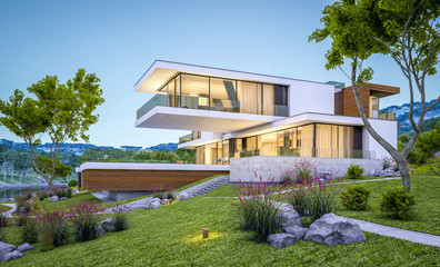3d rendering of modern house by the river at evening