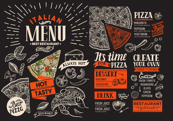 Pizza restaurant menu. Vector food flyer for bar and cafe on chalkboard background. Design template with vintage hand-drawn illustrations.
