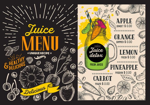 Juice smoothie menu for restaurant and cafe. Vector drink flyer. Design template with vintage hand-drawn illustrations.